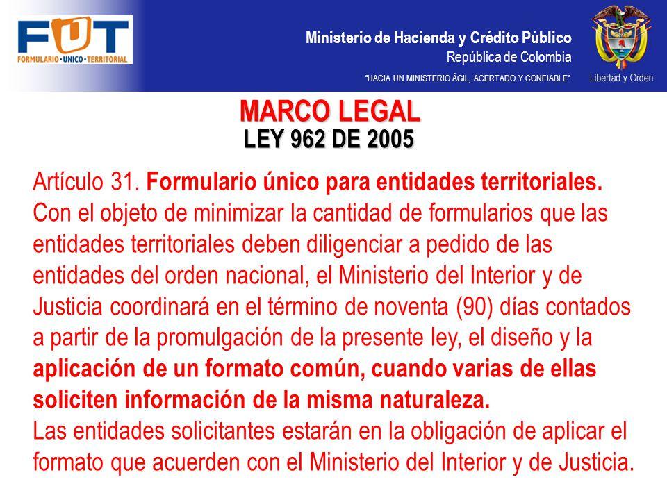 MARCO LEGAL LEY 962 DE 2005.