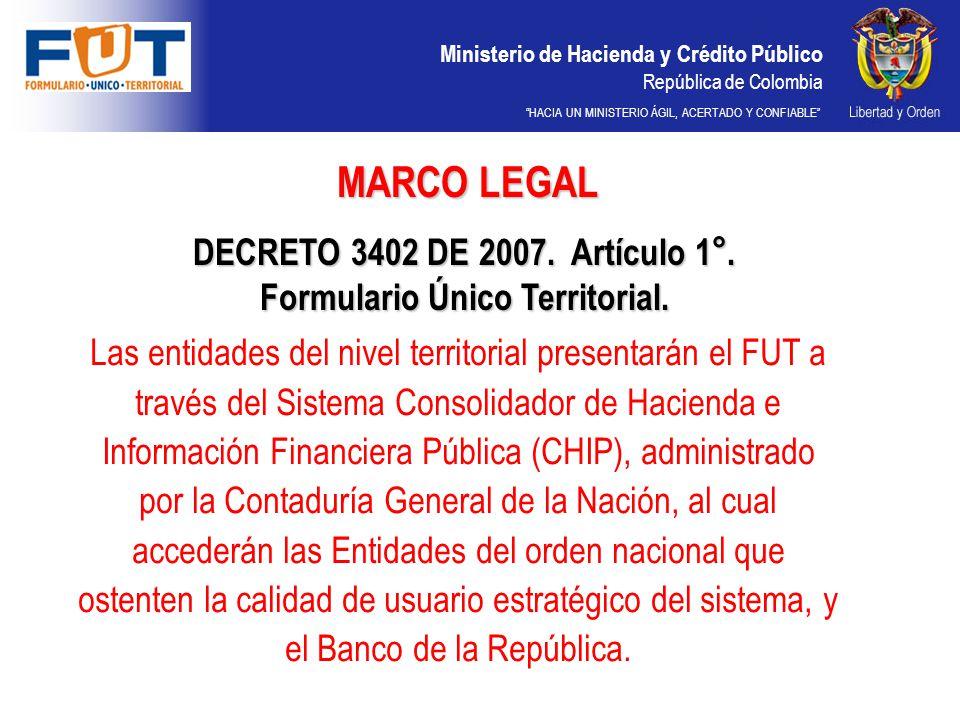 DECRETO 3402 DE 2007. Artículo 1°. Formulario Único Territorial.