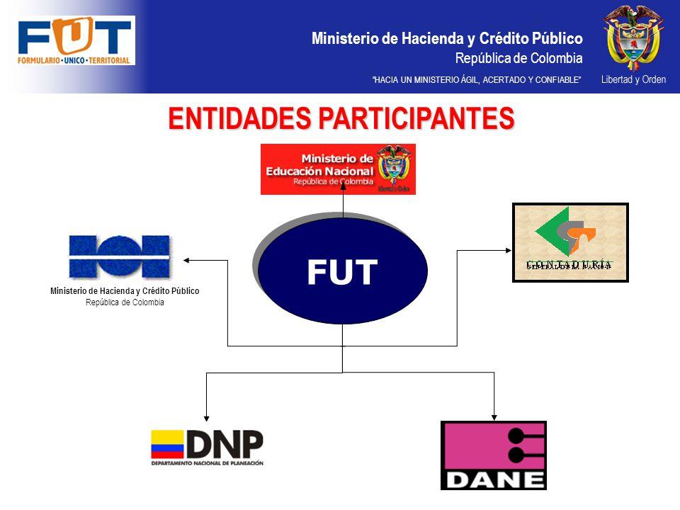 ENTIDADES PARTICIPANTES Ministerio de Hacienda y Crédito Público
