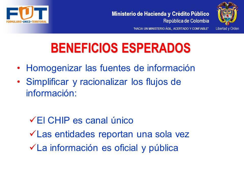 BENEFICIOS ESPERADOS Homogenizar las fuentes de información