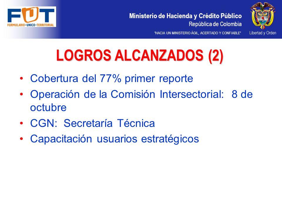 LOGROS ALCANZADOS (2) Cobertura del 77% primer reporte