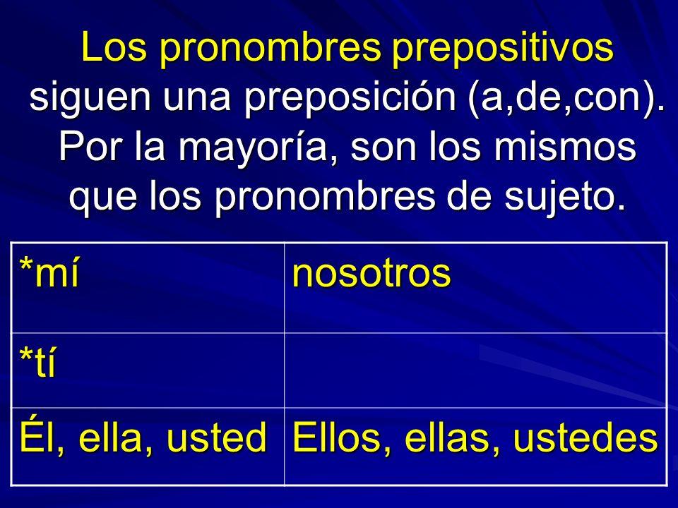Los pronombres prepositivos siguen una preposición (a,de,con)