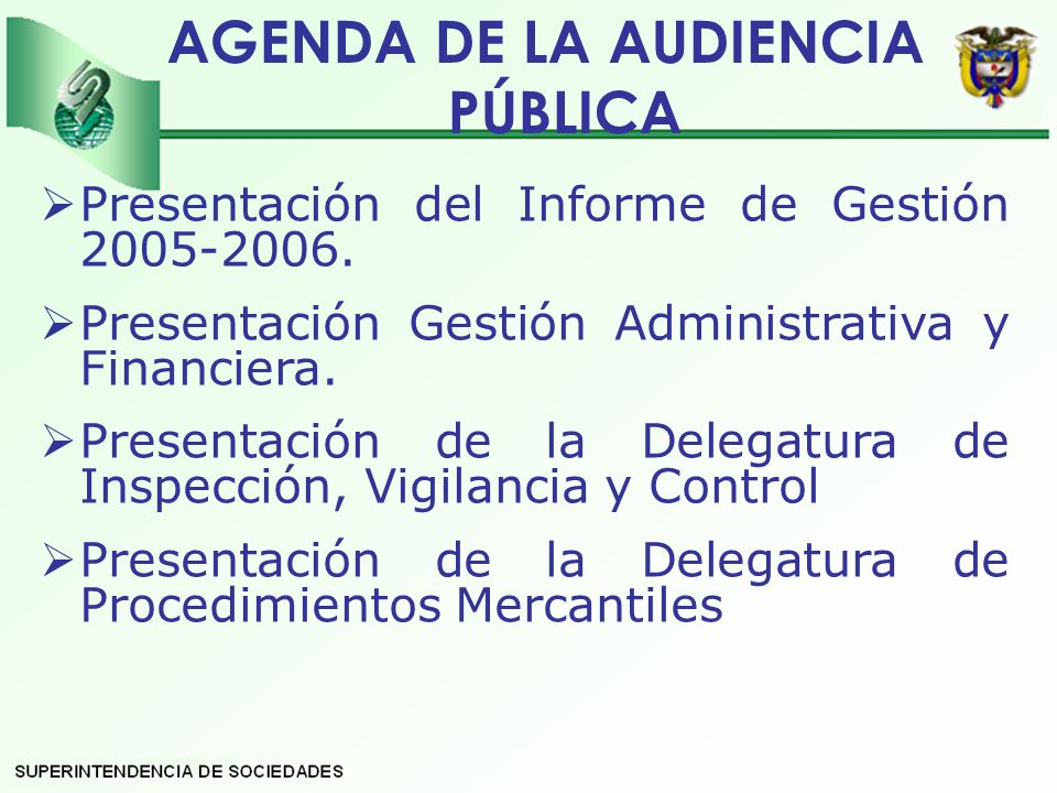 AGENDA DE LA AUDIENCIA PÚBLICA