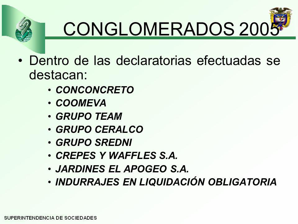 CONGLOMERADOS 2005 Dentro de las declaratorias efectuadas se destacan: