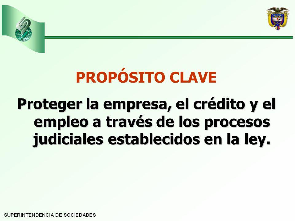 PROPÓSITO CLAVE Proteger la empresa, el crédito y el empleo a través de los procesos judiciales establecidos en la ley.