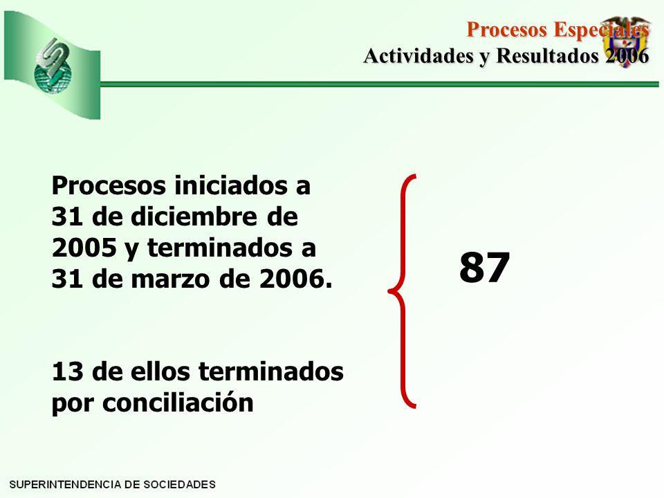 Procesos Especiales Actividades y Resultados 2006. Procesos iniciados a 31 de diciembre de 2005 y terminados a 31 de marzo de 2006.