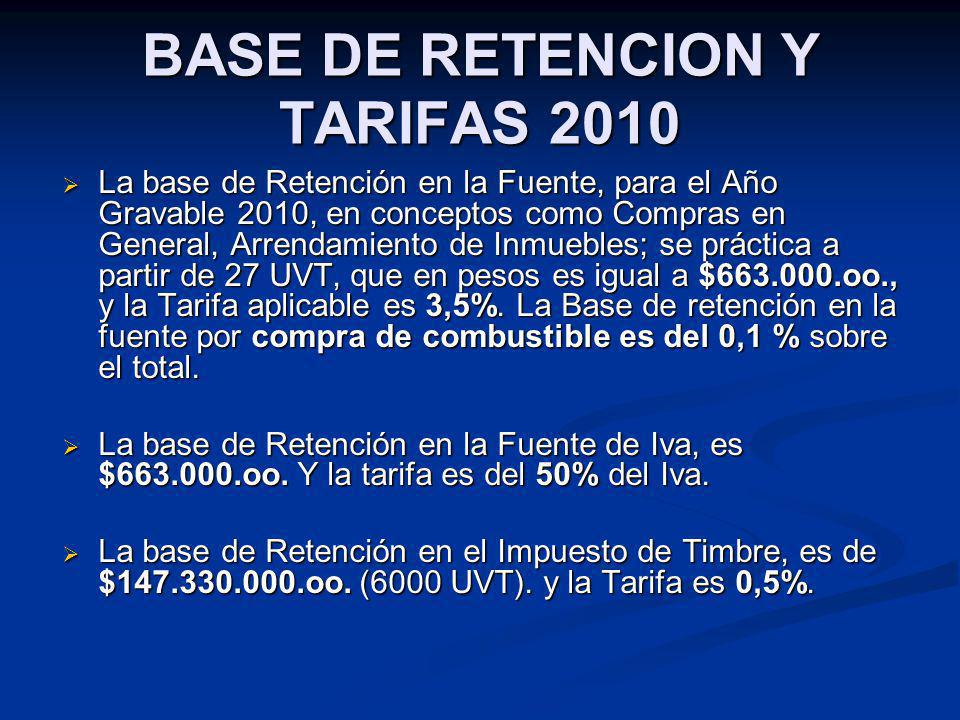 BASE DE RETENCION Y TARIFAS 2010