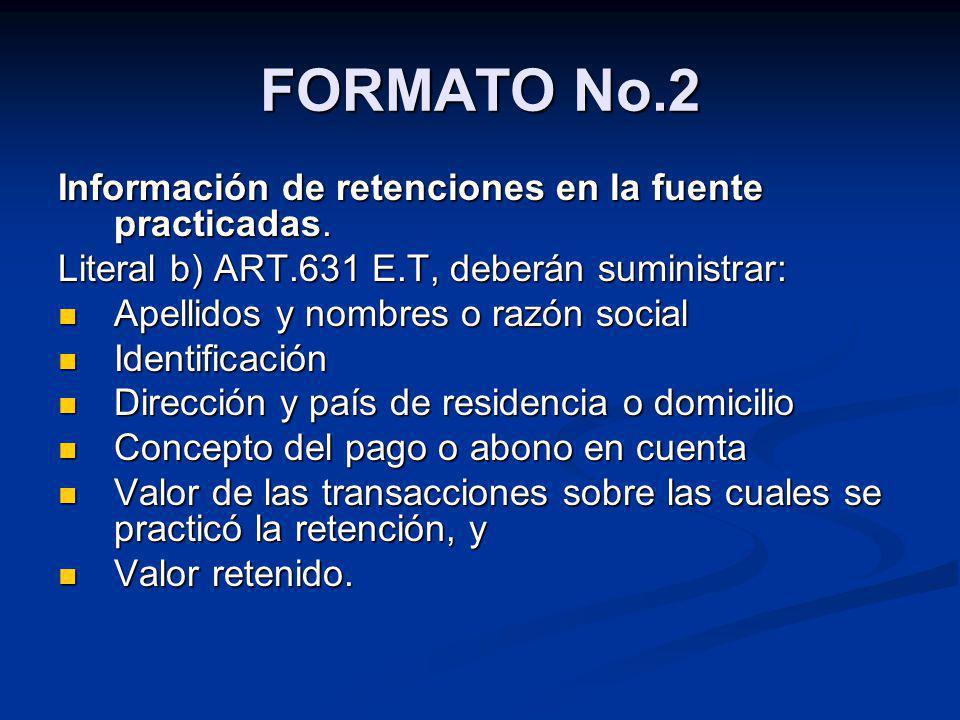 FORMATO No.2 Información de retenciones en la fuente practicadas.