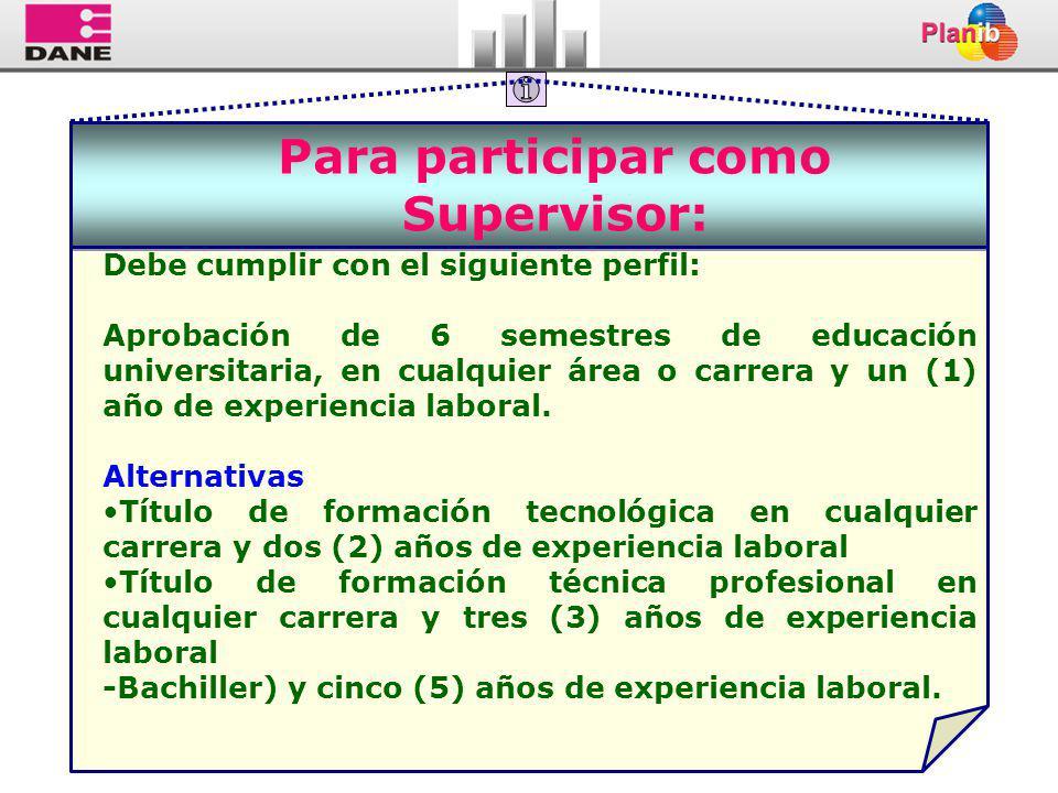 Para participar como Supervisor: