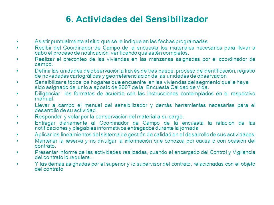 6. Actividades del Sensibilizador
