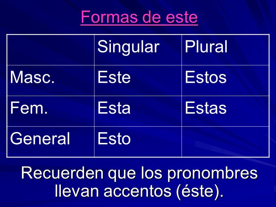 Formas de este Recuerden que los pronombres llevan accentos (éste).