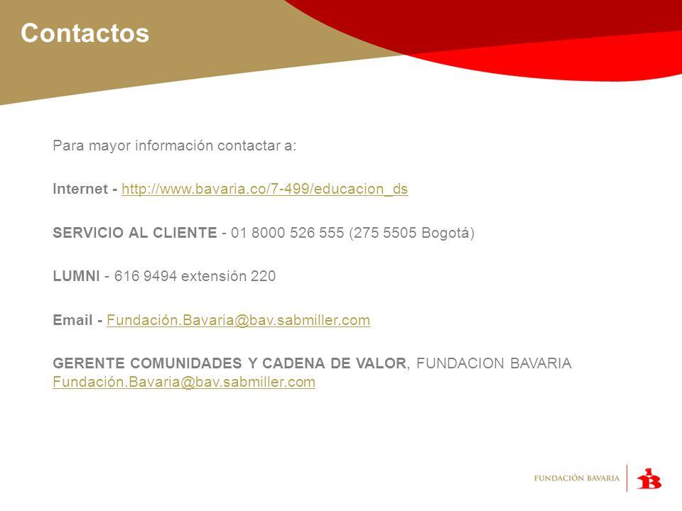 Contactos Para mayor información contactar a: