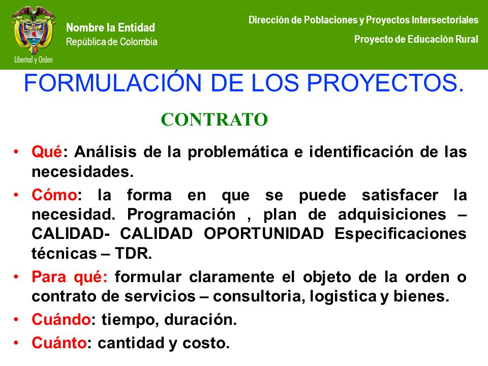 FORMULACIÓN DE LOS PROYECTOS.