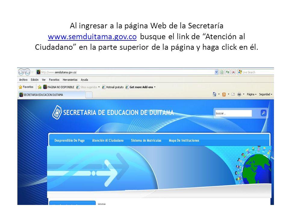 Al ingresar a la página Web de la Secretaría www. semduitama. gov