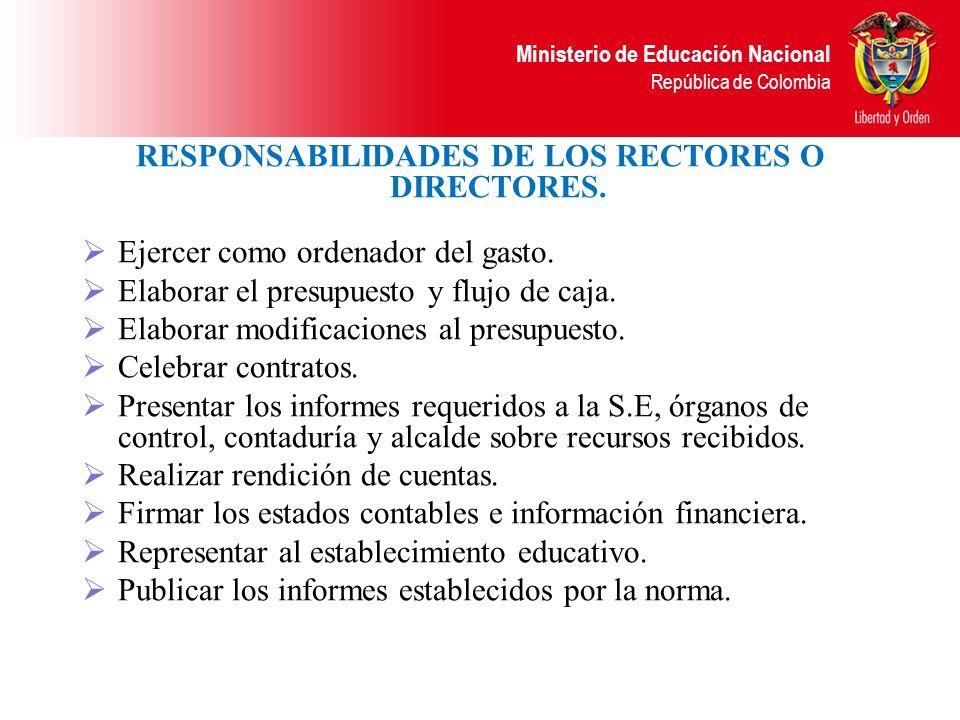 RESPONSABILIDADES DE LOS RECTORES O DIRECTORES.