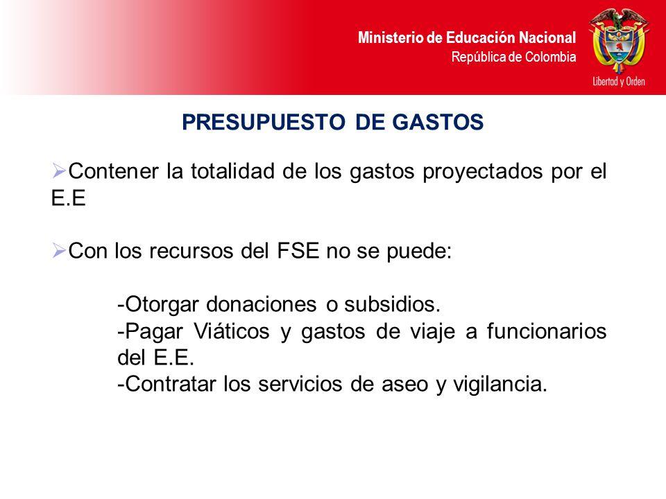 PRESUPUESTO DE GASTOS Contener la totalidad de los gastos proyectados por el E.E. Con los recursos del FSE no se puede: