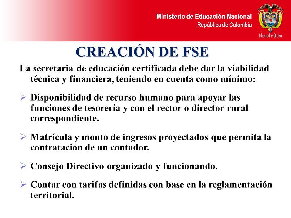 CREACIÓN DE FSE La secretaria de educación certificada debe dar la viabilidad técnica y financiera, teniendo en cuenta como mínimo: