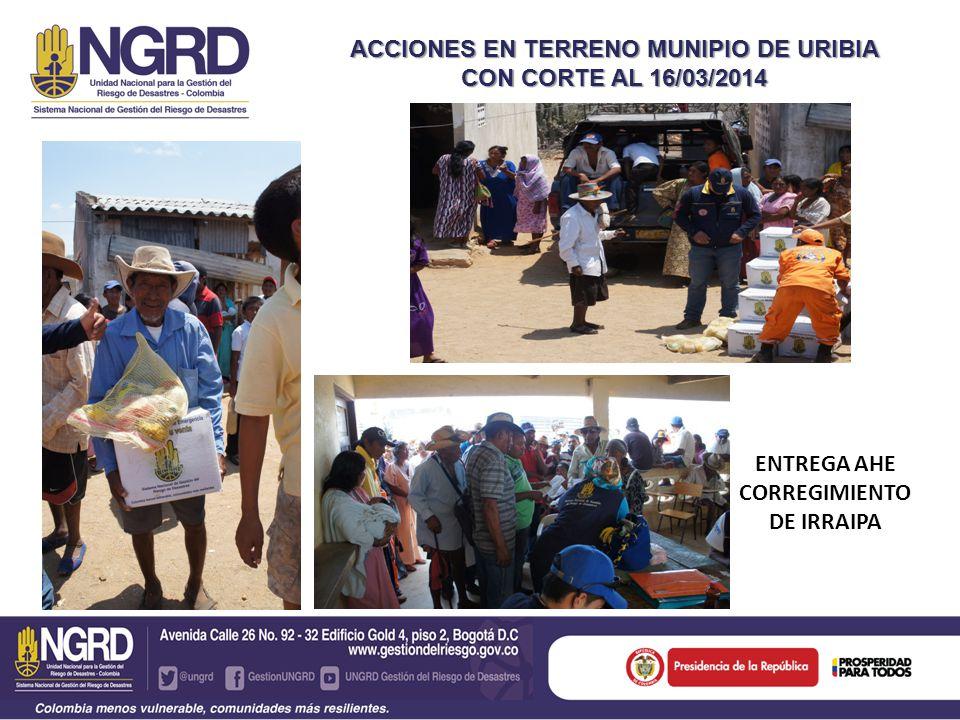 ACCIONES EN TERRENO MUNIPIO DE URIBIA CON CORTE AL 16/03/2014