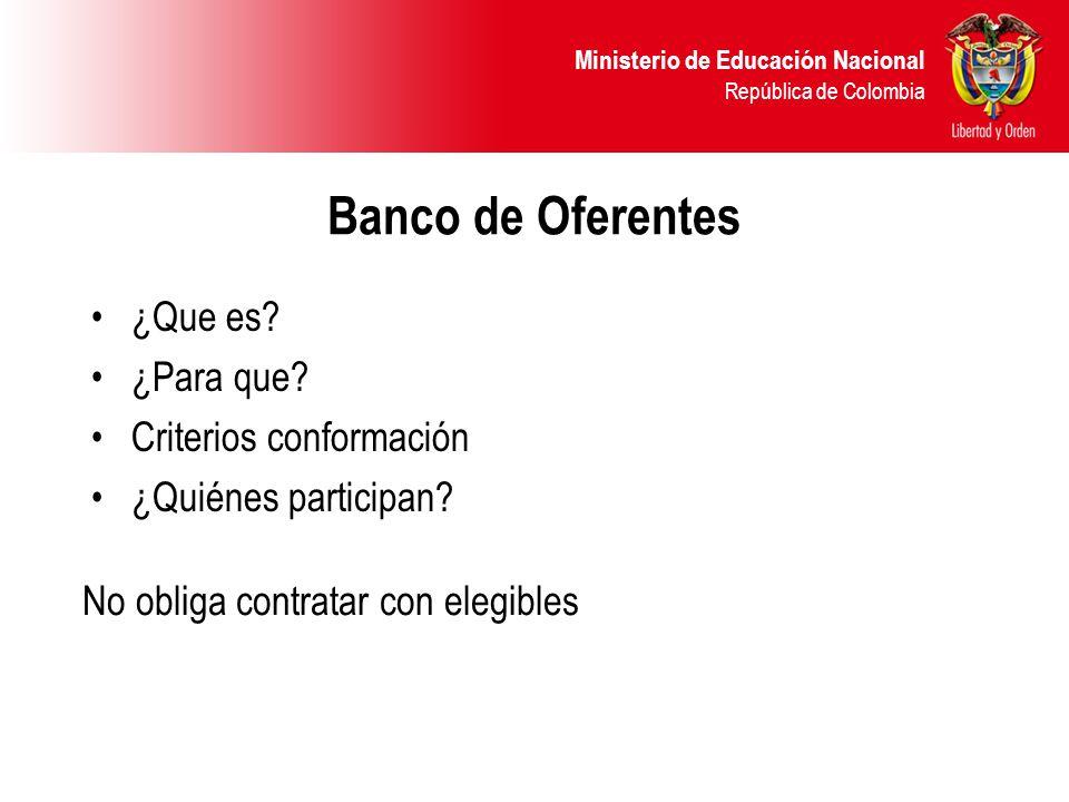 Banco de Oferentes ¿Que es ¿Para que Criterios conformación