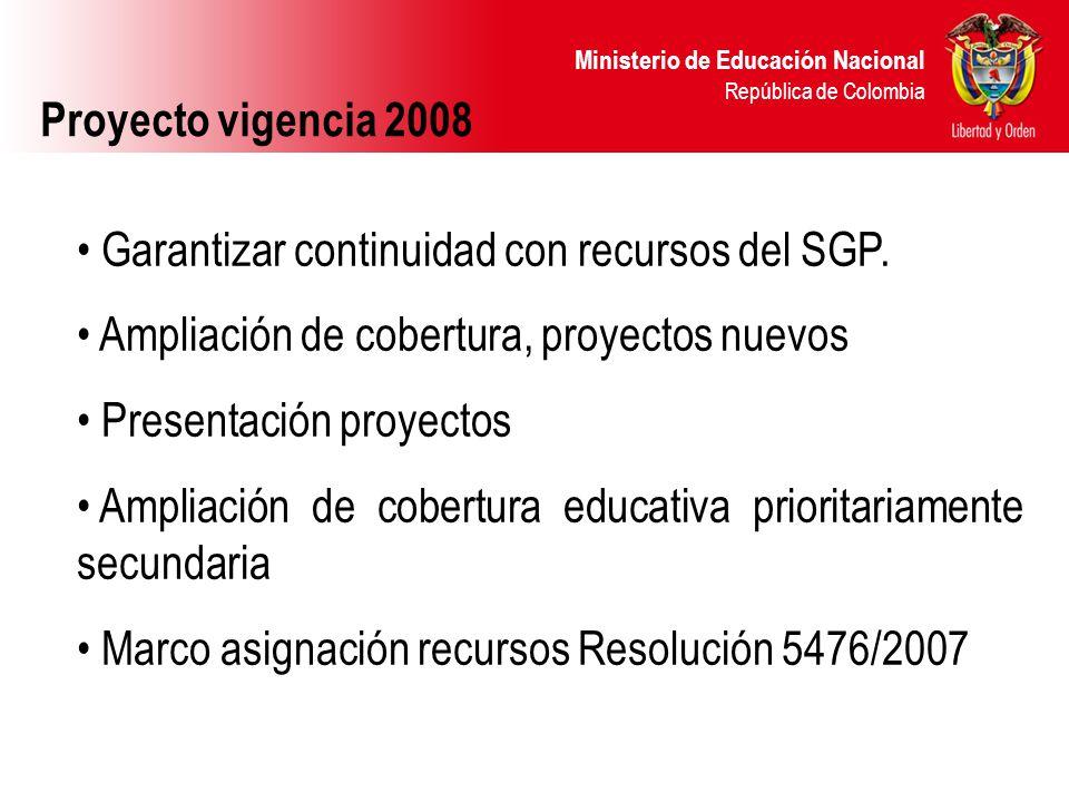 Proyecto vigencia 2008 Garantizar continuidad con recursos del SGP. Ampliación de cobertura, proyectos nuevos.