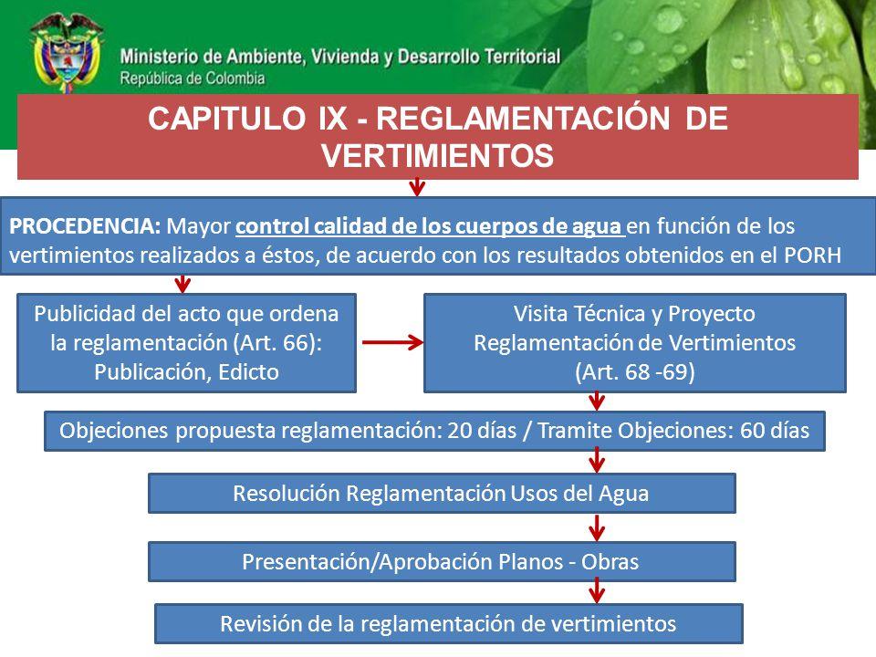 CAPITULO IX - REGLAMENTACIÓN DE VERTIMIENTOS
