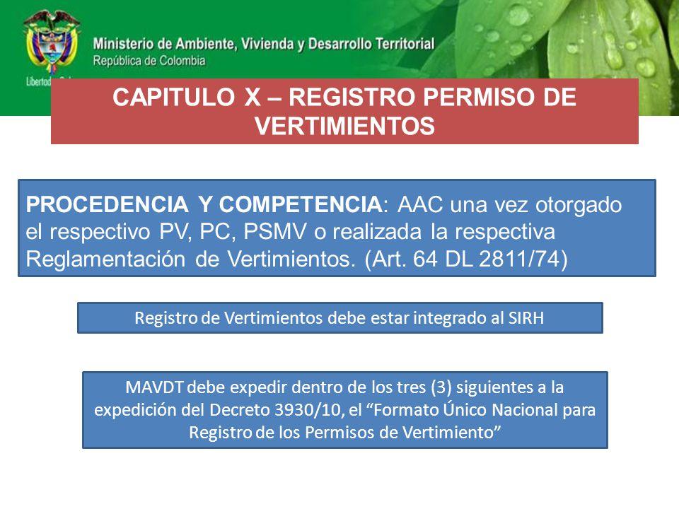 CAPITULO X – REGISTRO PERMISO DE VERTIMIENTOS