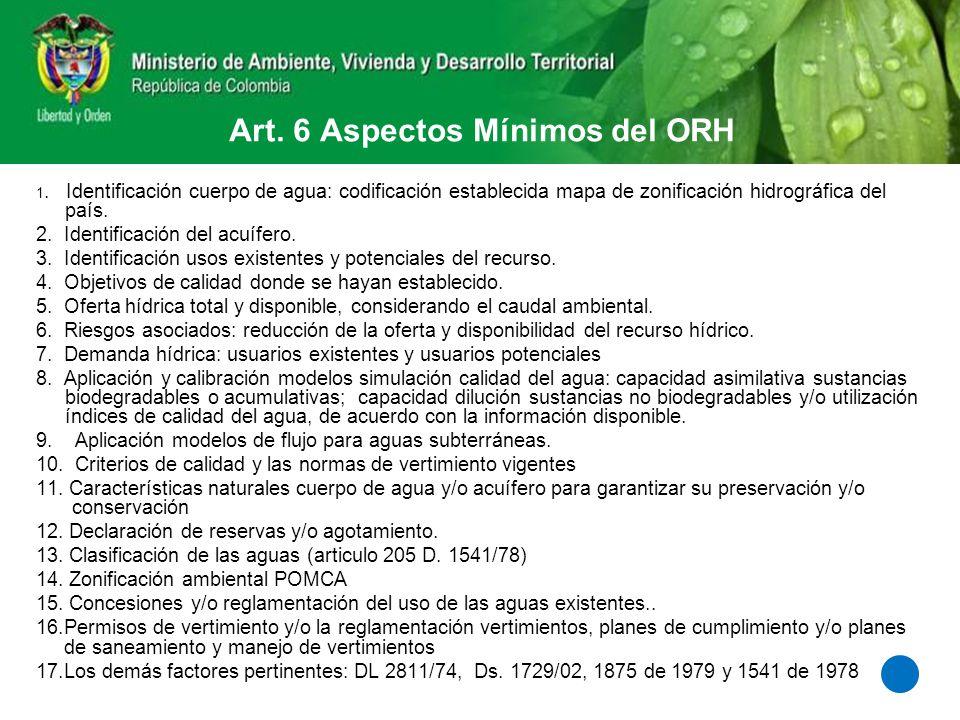Art. 6 Aspectos Mínimos del ORH