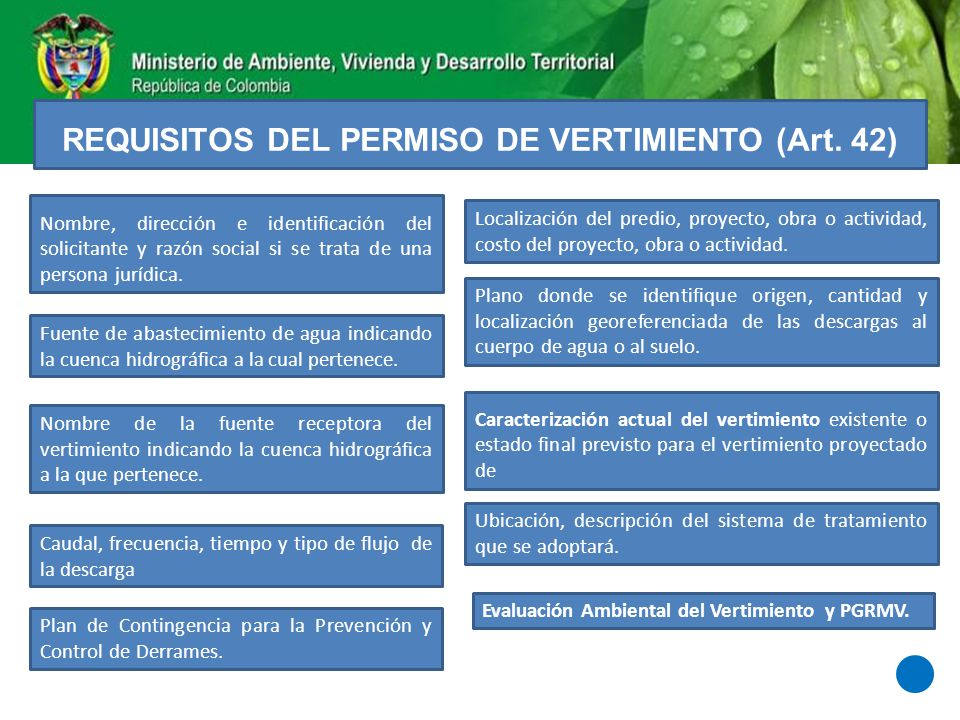 REQUISITOS DEL PERMISO DE VERTIMIENTO (Art. 42)