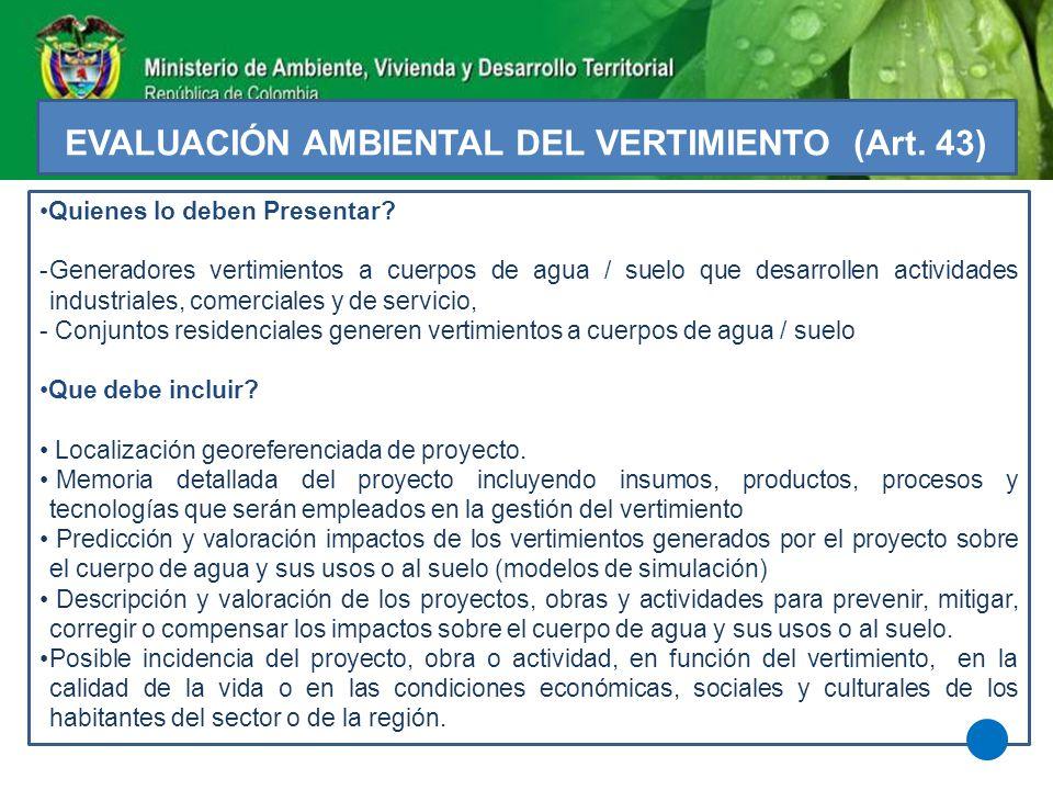 EVALUACIÓN AMBIENTAL DEL VERTIMIENTO (Art. 43)