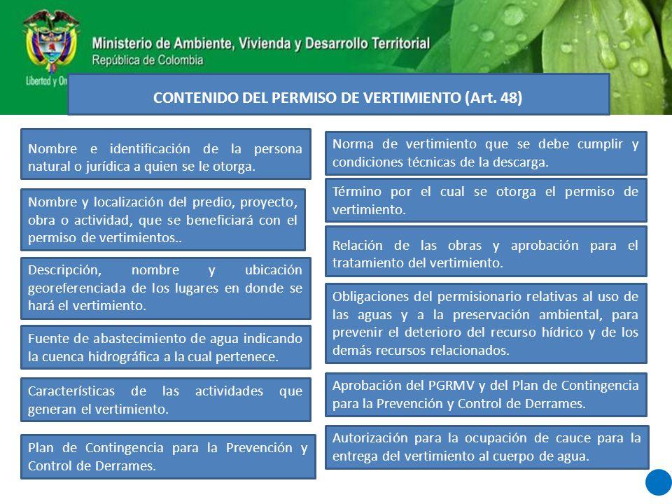 CONTENIDO DEL PERMISO DE VERTIMIENTO (Art. 48)
