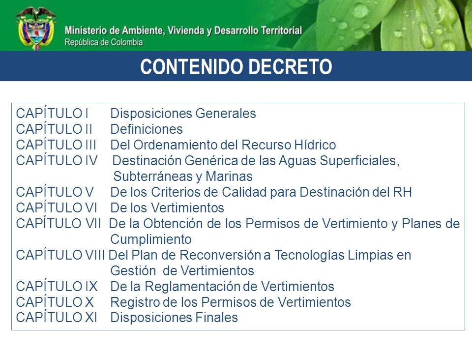 CONTENIDO DECRETO CAPÍTULO I Disposiciones Generales