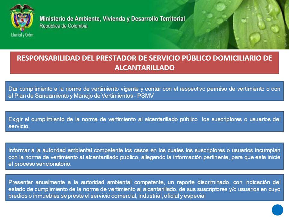 RESPONSABILIDAD DEL PRESTADOR DE SERVICIO PÚBLICO DOMICILIARIO DE ALCANTARILLADO