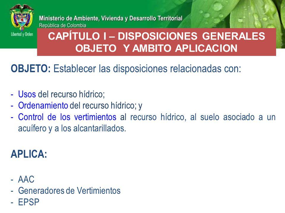 CAPÍTULO I – DISPOSICIONES GENERALES OBJETO Y AMBITO APLICACION