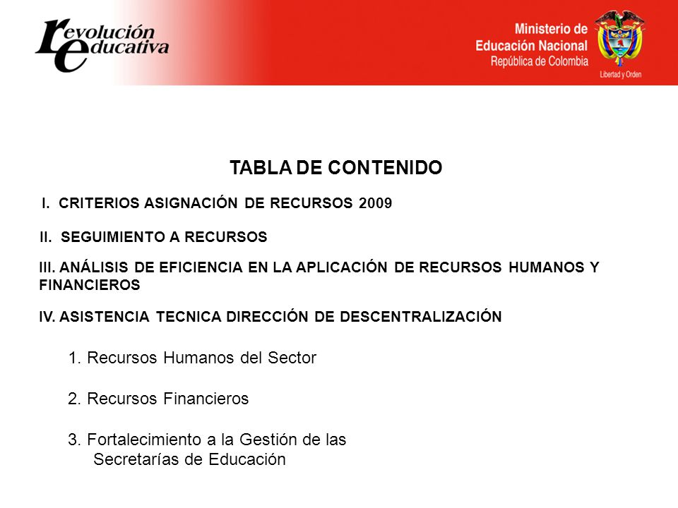TABLA DE CONTENIDO 1. Recursos Humanos del Sector