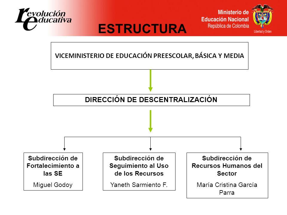 ESTRUCTURA VICEMINISTERIO DE EDUCACIÓN PREESCOLAR, BÁSICA Y MEDIA