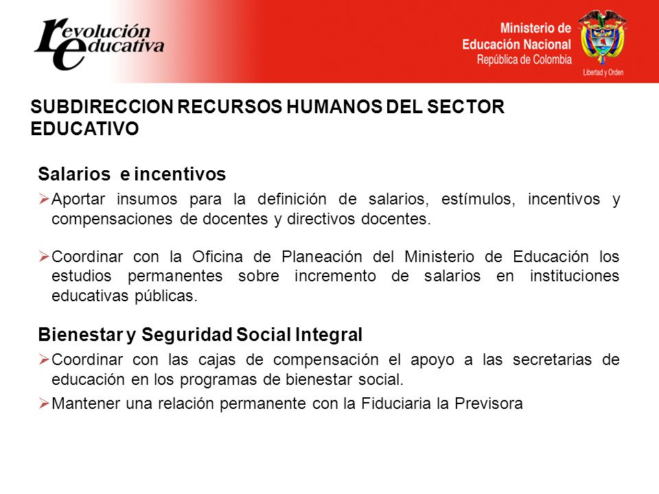 SUBDIRECCION RECURSOS HUMANOS DEL SECTOR EDUCATIVO