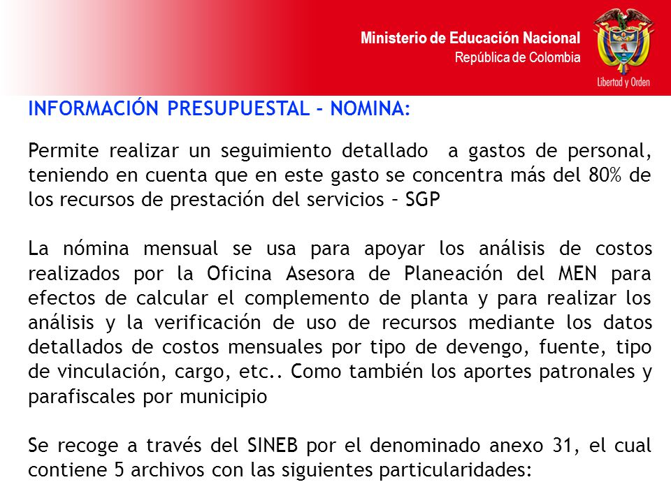 INFORMACIÓN PRESUPUESTAL - NOMINA: