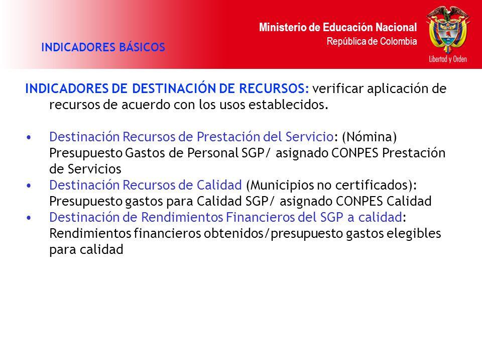 INDICADORES BÁSICOS INDICADORES DE DESTINACIÓN DE RECURSOS: verificar aplicación de recursos de acuerdo con los usos establecidos.