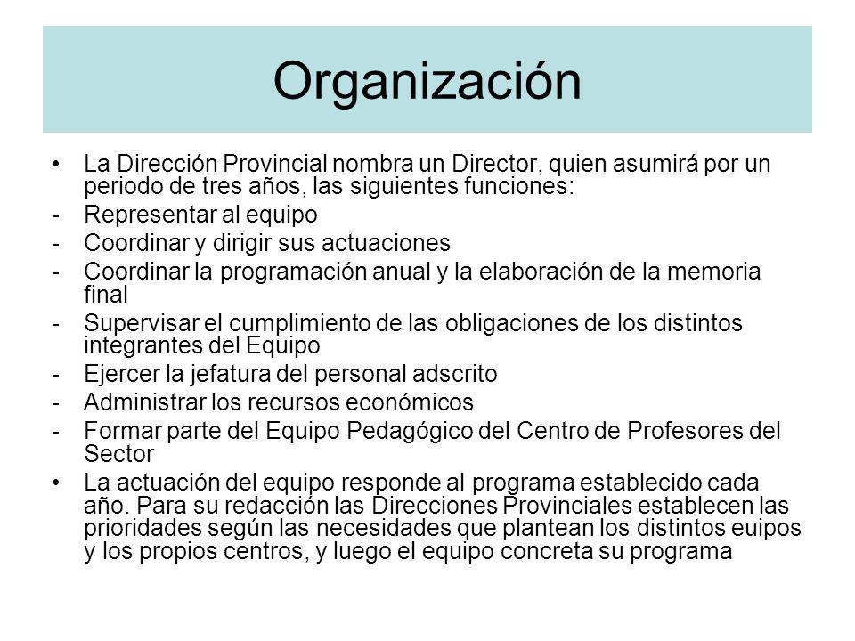 Organización La Dirección Provincial nombra un Director, quien asumirá por un periodo de tres años, las siguientes funciones: