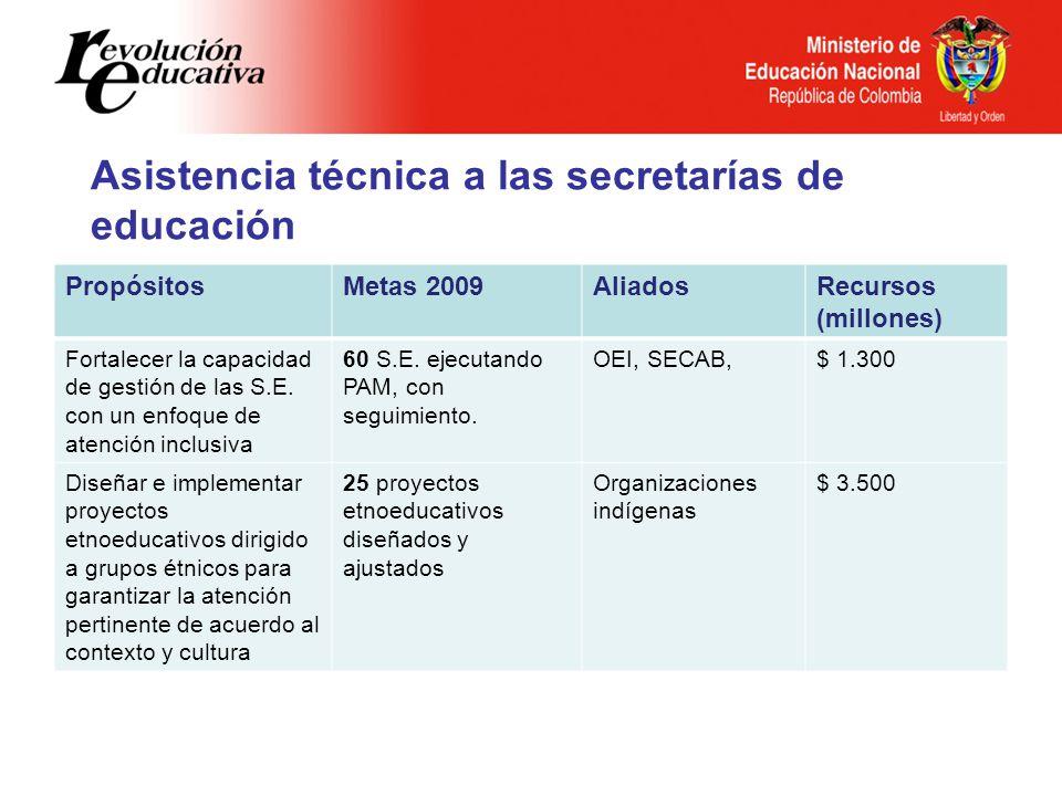 Asistencia técnica a las secretarías de educación
