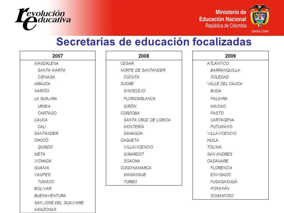Secretarías de educación focalizadas