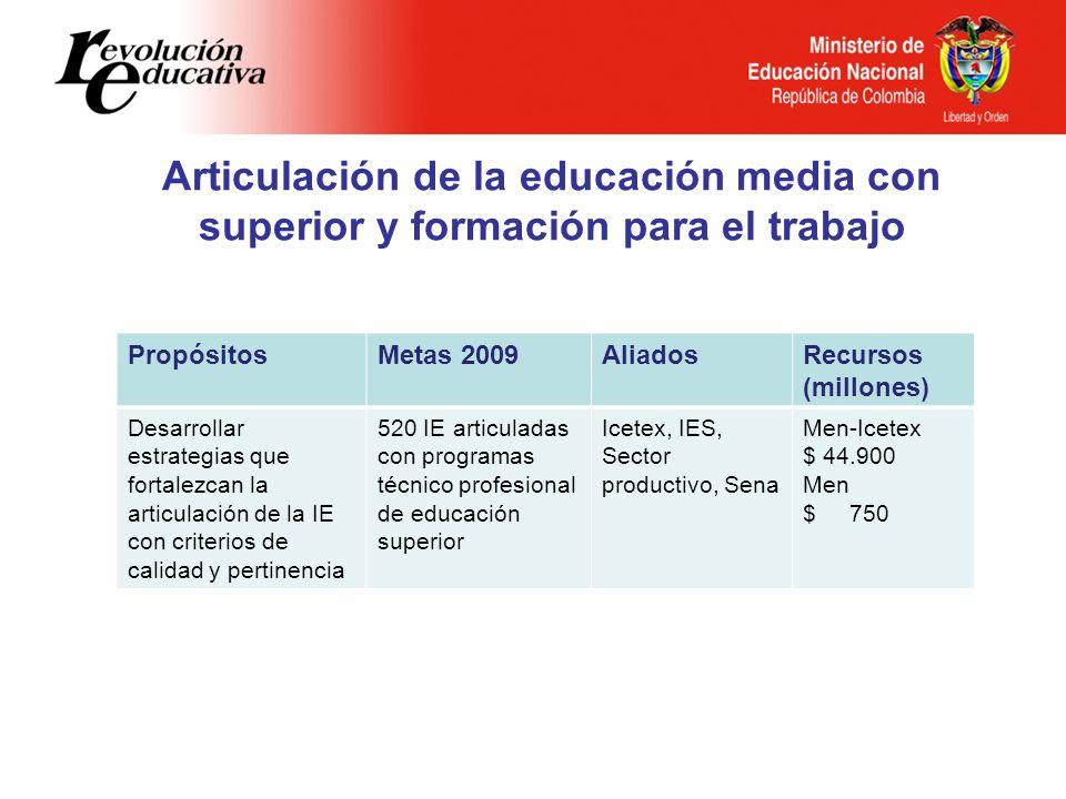 Articulación de la educación media con superior y formación para el trabajo