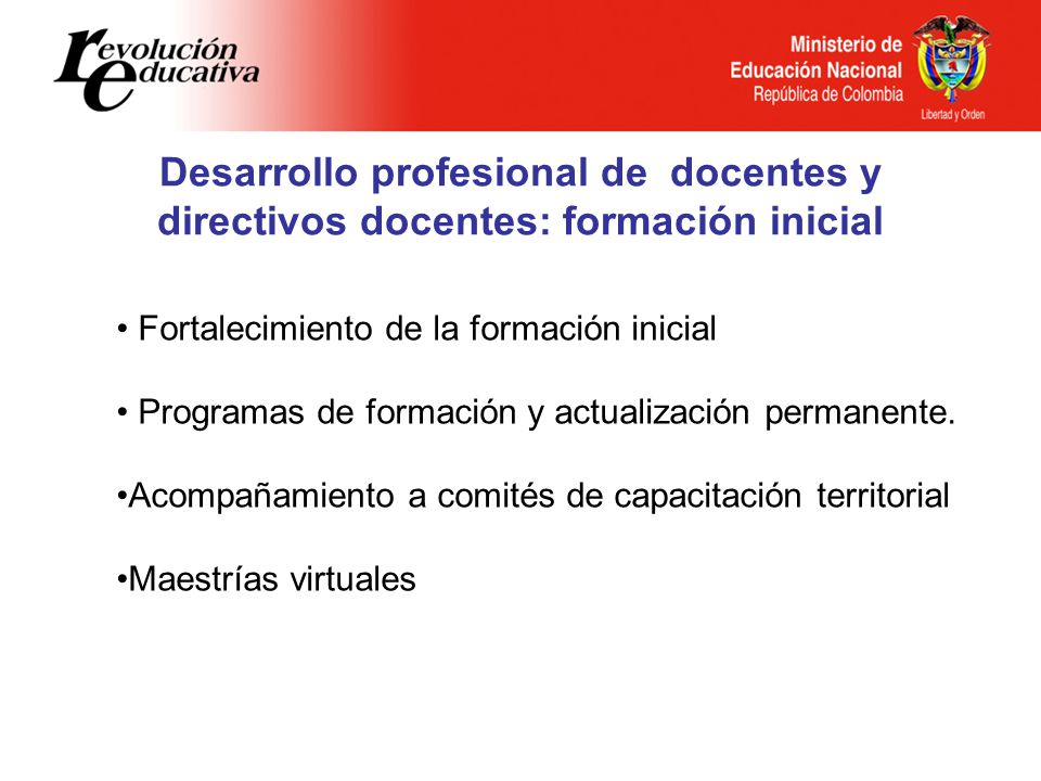 Desarrollo profesional de docentes y directivos docentes: formación inicial