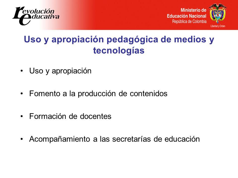 Uso y apropiación pedagógica de medios y tecnologías