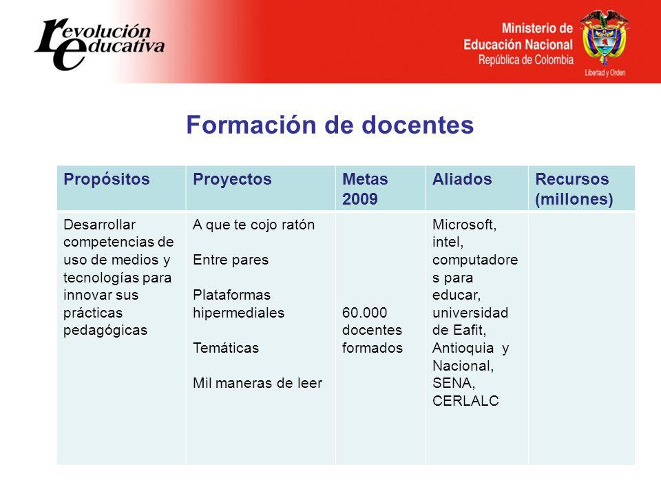 Formación de docentes Propósitos Proyectos Metas 2009 Aliados Recursos