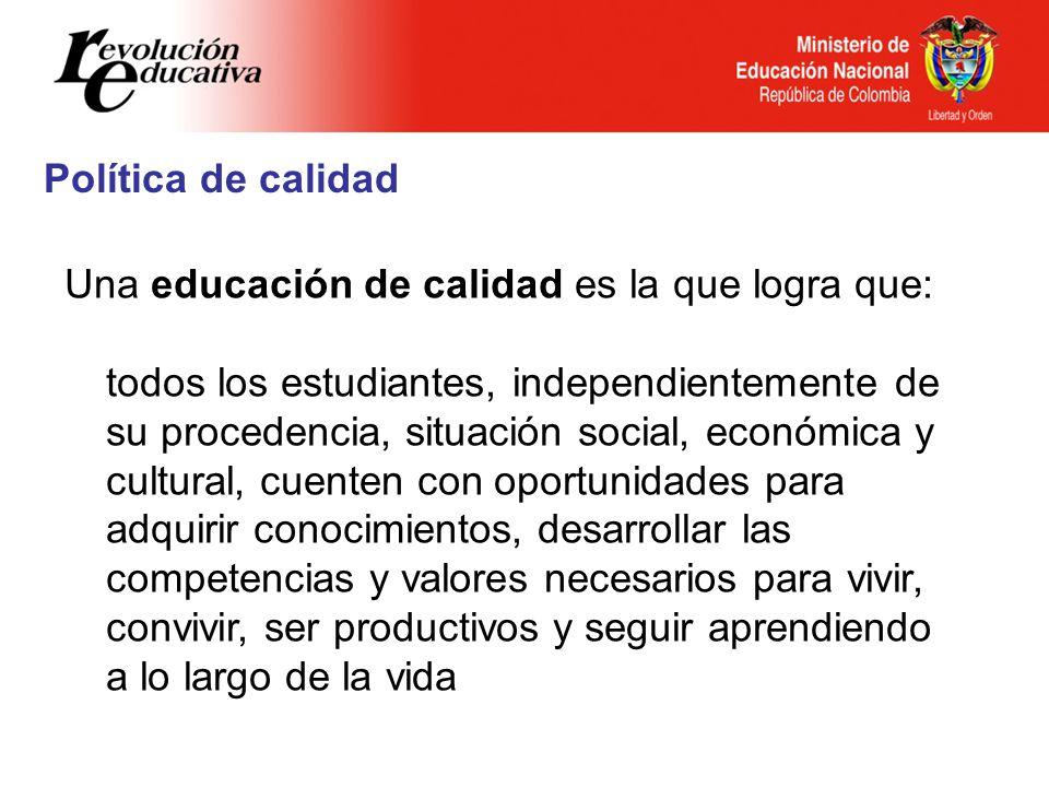Política de calidad Una educación de calidad es la que logra que: