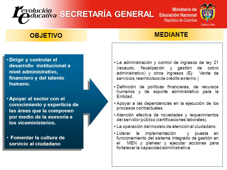 SECRETARÍA GENERAL MEDIANTE OBJETIVO