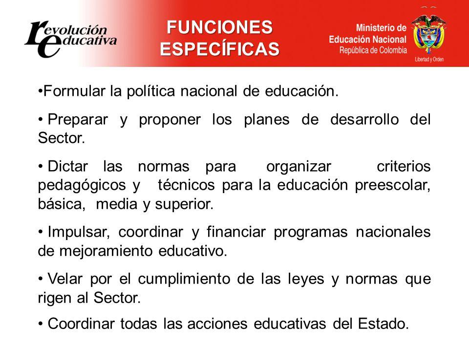 FUNCIONES ESPECÍFICAS Formular la política nacional de educación.