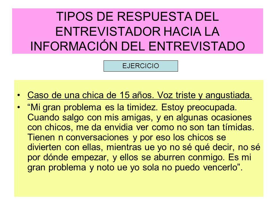 TIPOS DE RESPUESTA DEL ENTREVISTADOR HACIA LA INFORMACIÓN DEL ENTREVISTADO