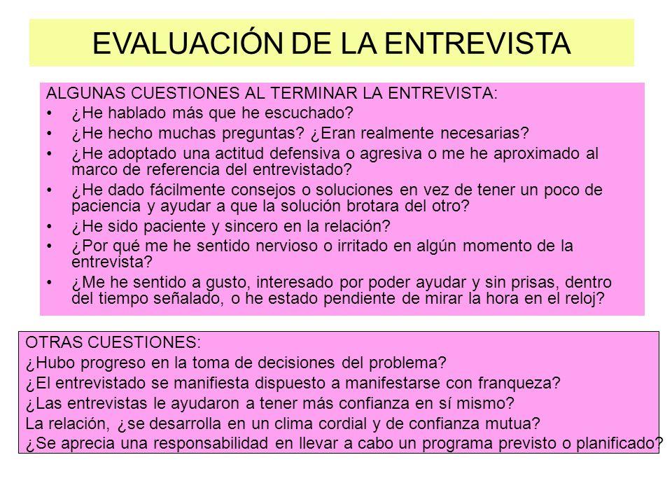 EVALUACIÓN DE LA ENTREVISTA